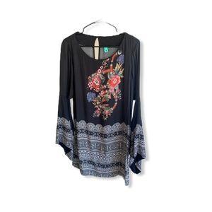 Border Print Boho Dress with Wide Sleeve Detail